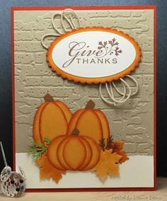 Stamp # - Karten Marianne D - halloween cards Thanksgiving Greeting Cards, Holiday Cards, Christmas Cards, Handmade Thanksgiving Cards, Diy Thanksgiving Cards, Christmas Birthday, Pumpkin Cards, Harvest Moon, Cricut Cards