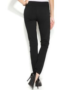 Alfani Petite Tummy-Control Pull-On Skinny Pants, Only at Macy's - Gray 2P