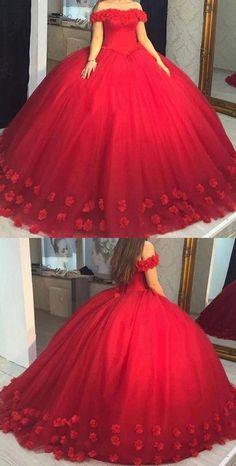 Girls Sweet 16 Dresses Ball Gown Quinceanera Dress CR 8552 - Sites new Sweet 16 Dresses, 15 Dresses, Ball Dresses, Cute Red Dresses, Red Quinceanera Dresses, Red Wedding Dresses, Red Ball Gowns, Ball Gowns Prom, Dress Vestidos
