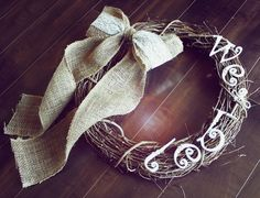 Personalized Vintage Shabby Chic Grapevine Wreath with a Burlap & Lace Bow. Would be great for a wedding!