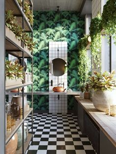Spectacular bathroom design from Architects Semen Vishnyakov and Alexandra Borisova for Behance | Featuring our magnificent Deep Tropic Pattern Wallpaper | Forest Homes #homedecor #homedecorideas #decorideas #interiordesign