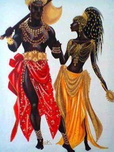 """A quinta canção do álbum, """"Tempo de amor"""", fala do amor e seu consequente sofrimento, assim como a maioria das canções desse LP. Contam as lendas que Xangô teve uma história de amor e sofrimento com Oxum. A deusa da beleza e do amor foi casada com Oxóssi, orixá da caça. Numa das longas ausências de seu amado, Oxum foi seduzida por Xangô, irmão de Oxóssi. Escute """"Tempo de amor"""": https://www.youtube.com/watch?v=NkCjGjt4e_4 Imagem: ilustração de Xangô e Oxum."""