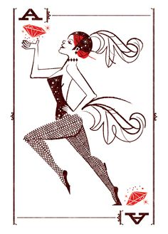 Adorable print for store reno! Ace of Diamonds by Scotty Reifsnyder Heart Illustration, Graphic Design Illustration, Graphic Design Typography, Graphic Art, Deck Of Cards, Playing Cards, Sketches, Drawings, Prints