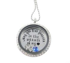 Remembrance Living Locket - Floating Memory Locket by Silver Impressions - Memorial Necklace