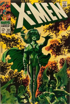 X-Men #50 (Marvel, 1968) Jim Steranko cover and art. Origin of the Beast. Second appearance of Polaris. Mesmero appearance. First issue to feature the new X-Men cover logo, created by Jim Steranko.
