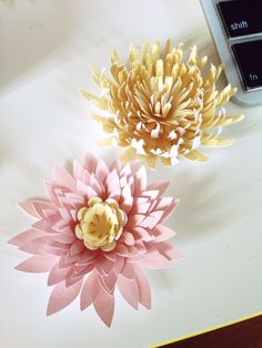 Paper Water Lilies & Chrysanthemums Tutorial www.onlyjustbecoming.com