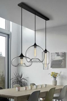 Modern Style 3 Light Pendant Light with Clear Glass Shade for Dining Room Kitchen IslandPENDANTS - Island Pendant Lights - Ideas of Island Pendant Lights Multi Light Pendant, Glass Pendant Light, Pendant Light Dining Room, Pendant Lights Kitchen, Hanging Kitchen Lights, Hanging Lights Living Room, Modern Hanging Lights, Pendant Lamps, Pendant Light Fixtures