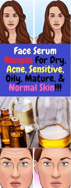 Face Serum Recipes For Dry Acne Sensitive Oily Mature & Normal Skin!Essential oils offer a myriad of health benefits especially for skin health as they rejuvenate the skin and slow down the aging process. Healthy Beauty, Healthy Skin, Healthy Protein, Thing 1, Normal Skin, Homemade Skin Care, Homemade Moisturizer, Anti Aging Serum, How To Treat Acne