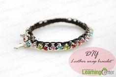 How to Make Beaded Leather Wrap Bracelet With Colorful Rhinestone Beads - Pandahall.com