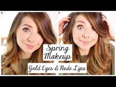 Spring Makeup Tutorial | Gold Eyes & Nude Lips | Zoella - YouTube