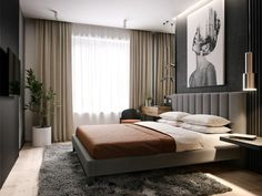 Floor to ceiling window treatments / side mirror panel/ accent panel / dark grey / brown and cream bedding Luxury Bedroom Furniture, Master Bedroom Interior, Bedroom Bed Design, Modern Bedroom Design, Home Interior, Home Bedroom, Interior Design Living Room, Bedroom Decor, Closet Bedroom