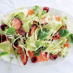 Fruit Salad with Fennel, Watercress, and Smoked Salt...........Feel free to adapt this fruit salad as the seasons change; aim for a mix of juicy fruit (like melon), stone fruit, and berries.