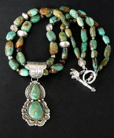 2-Stone Royston Turquoise & Sterling Silver Pendant with Nevada Turquoise