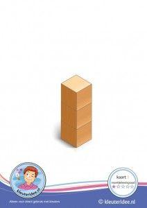 Bouwkaart 1 moeilijkheidsgraad 1 voor kleuters, kleuteridee, Preschool card building blocks with toddlers 1, difficulty 1.
