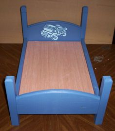 handcrafted 18 inch boy doll  bed made for American Girl size doll blue with dump truck design @cmcraftedtreasures $25