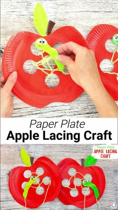 This Paper Plate Apple Lacing Craft is adorable with the cutest worm for kids to thread in and out! A fabulous interactive apple craft and fun way to build fine motor skills. A simple Fall craft for kids thats fun and educational. Paper Plate Crafts For Kids, Fall Crafts For Kids, Craft Activities For Kids, Spring Crafts, Paper Crafting, Art For Kids, Craft Kids, Apple Crafts For Preschoolers, Super Hero Activities