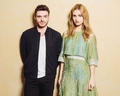 Richard Madden and Lily James during the Cinderella Portraits Session, 2015 #waltdisney