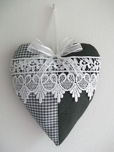 Black and White Fabric and Lace Heart Valentines Day Hearts, Valentine Heart, Valentine Crafts, Christmas Crafts, Lavender Bags, Lavender Sachets, Lace Heart, Heart Art, Sewing Crafts