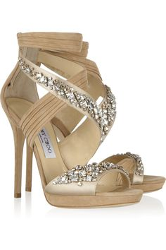 Jimmy Choo | Kani Swarovski crystal-embellished satin and suede sandals  | NET-A-PORTER.COM
