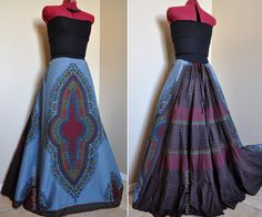 Rising Fog - Long African Patchwork Skirt, Ethnic Dashiki Gypsy Skirt, OOAK, Slate and Earthy Browns,  Best for sizes - M to L. $117.00, via Etsy.