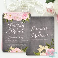 Chalkboard Floral Bridal Bubbly & Brunch Shower Invitation with Pink Blush Peonies and Roses: Rustic Shabby Chic Printed/Printable