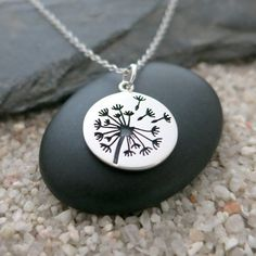 Etsy listing at https://www.etsy.com/listing/252477192/dandelion-necklace-sterling-silver