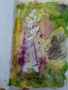 Libro de artista Sara. Encuadernación artesanal, tamaño A5. Transferencias con disolvente y acuarela.