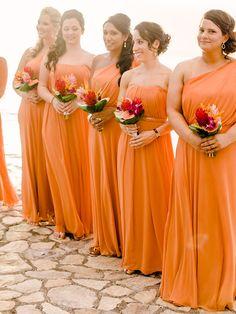 Bridesmaid Dresses (light orange, knee length, strapless, taffeta ...