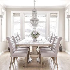 white dining room table brilliant white dining room furniture best 25 table for GUDKWAT - Home Decor Ideas - Best Pins Elegant Dining Room, Luxury Dining Room, Luxury Living, Formal Dining Rooms, Modern Living, Dining Room Chairs, Dining Room Furniture, Dining Room Sets, Lounge Chairs