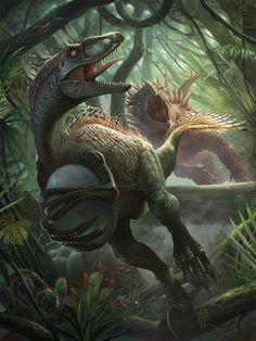Thief Raptor, by Junaidi Lim Prehistoric Wildlife, Prehistoric World, Prehistoric Creatures, Mythical Creatures, Dinosaur Drawing, Dinosaur Art, Dinosaur Fossils, Dinosaur Crafts, Jurrassic Park