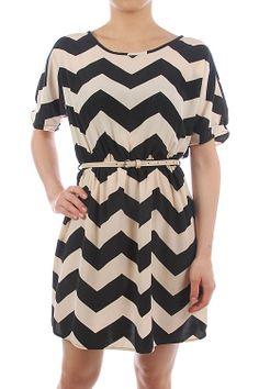 CHEVRON PRINT CHIFFON DRESS WITH BELT The Cherry on Top Boutique LLC