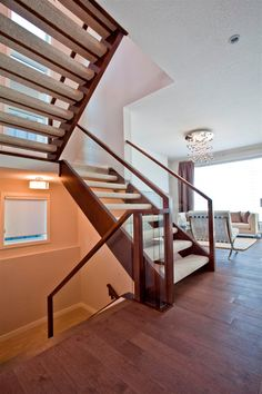 A modern staircase creates a luxurious experience without depending on extraneous ornament, can increase the visual appeal of your home and potentially the value. Learn about our modern staircase design process. Carpet Staircase, House Staircase, Staircase Remodel, Staircase Railings, Modern Staircase, Staircase Design, Staircase Ideas, Open Stairs, Glass Stairs