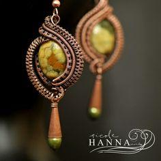 Rhyolite Green Pearl Copper Wire Wrap Earrings