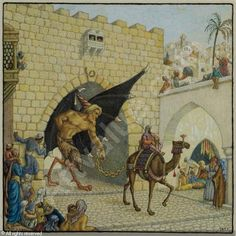 """And he followed Benayahu handcuffed... and they went up to Jerusalem"""" illustration for 'Solomon and Ashmedai"""