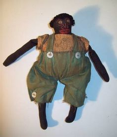19th c early boy black folk art doll..