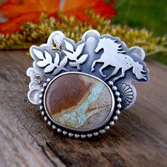Ride a Wild Horse Ring Metalsmithed Royston Boulder by LilyBlonde