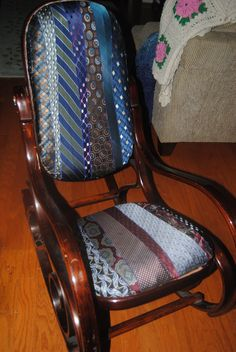 I bought an 80's rocker and some men's ties from resale, and recovered the back and seat for a man's den.