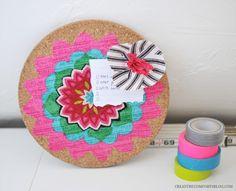 DIY Fabric Flower Pushpins   DIY Desk Accessories.... mini message board