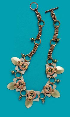 Single-Strand Necklace with Copper and Aluminum Components , Cultured Freshwater Pearls and Chain Mail