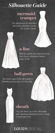 Start your bridal gown search with our silhouette guide. With thousands of breathtaking styles to choose from, it's easy to feel overwhelmed picking the perfect wedding gown. Never fear, you'll find your dream silhouette at David's Bridal. Perfect Wedding, Dream Wedding, Wedding Day, Wedding Tips, Trendy Wedding, Wedding Stuff, Wedding Planning, Bridal Gowns, Wedding Gowns