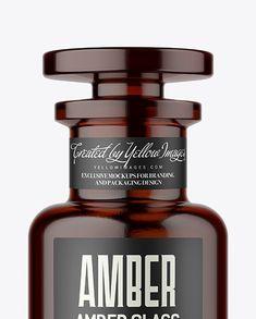 Amber Glass Bottle Mockup