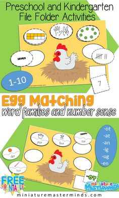 On The Farm Egg Match Word Families and Number Sense File Folder Activity For Preschool and Kindergarten Great Math Center or Literacy Activity