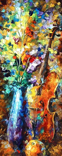 Flowers And Violin Painting  - Flowers And Violin Fine Art Print