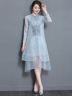 Blue Two-Piece Embroidered Qipao / Cheongsam Dress & Blouse