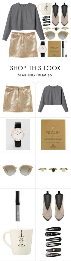 """""""Grey & gold: casual glamour"""" by rheeee ❤ liked on Polyvore featuring MANGO, Monki, Daniel Wellington, Dogeared, Miu Miu, Butter London, Acne Studios and Clips"""