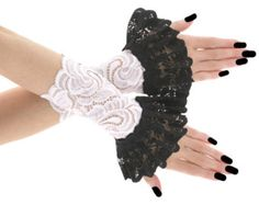 fingerless gloves short of lace with ruffled for gothic bride short fingerless gloves for womens, evening gloves in gothic, burlesque, vintage or bohemian style, short gloves, handcrafted gloves they come up to just above the wrist, wrist warmers made from highly stretch fabric for the perfect fit, womens gloves    color primary : black, contains : pair, fabric 1 : lace, fabric basic : elastic lace, length : 5,5 inches,gloves