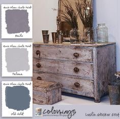 COLORWAYS Inspiration for a passionate purple color combination. Use Annie Sloan Chalk Paint® to recreate. Emile, Paloma, Old Violet and Dark Wax.