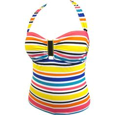 Catalina Women's Plus-Size Striped Halter Tankini Swimsuit Top with Enamel Embellishment with Bra Cups