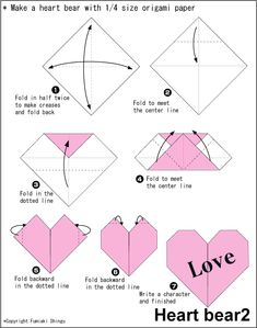 origami heart - print info on origami paper then fold into heart