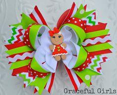 Gingerbread Girl Christmas Hair Bow